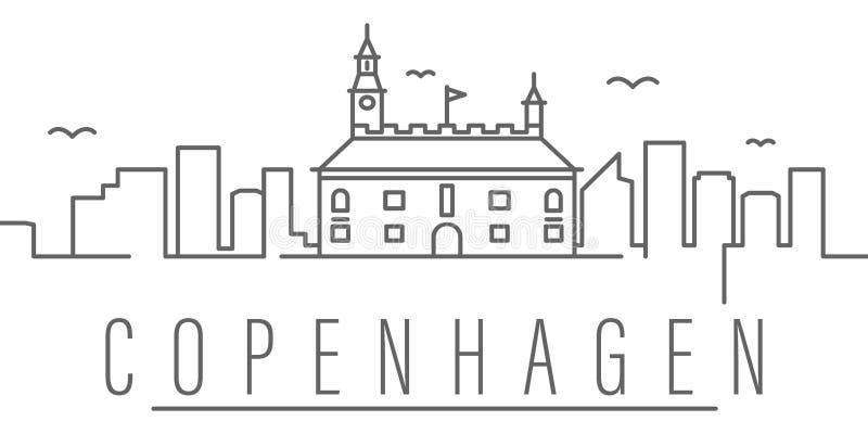 Kopenhaga miasta konturu ikona Elementy miast i kraj?w ilustracji ikona Znaki i symbole mog? u?ywa? dla sieci, logo, ilustracji