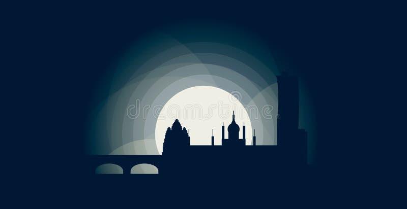 Kopenhaga miasta linii horyzontu loga chłodno ilustracja royalty ilustracja