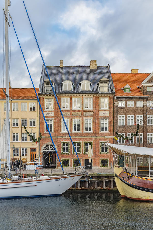 Kopenhaga Nyhavn nabrzeża fasada fotografia royalty free