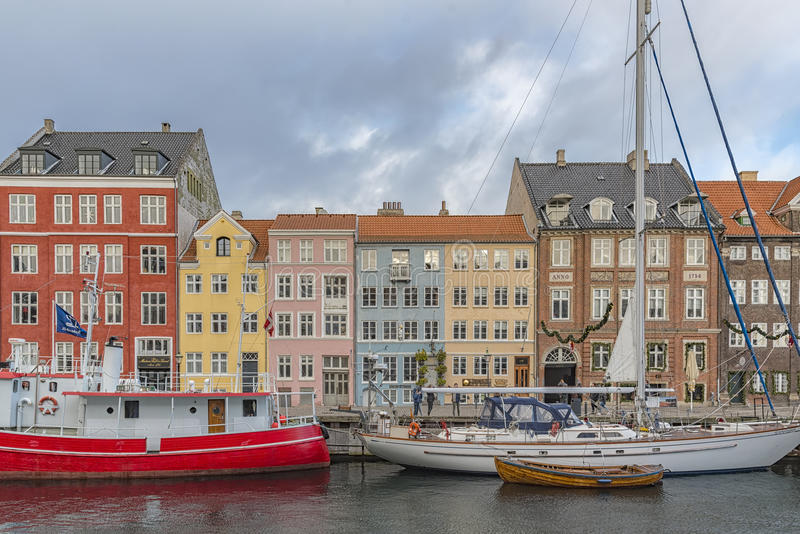 Kopenhaga Nyhavn nabrzeże fotografia royalty free