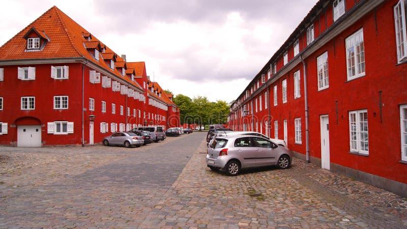 KOPENHAGEN, DÄNEMARK - 06. JUL, 2015: Forsvarets Efterretningstjeneste, roter Bau- und Marinestützpunkte in Kastellet stockfotografie