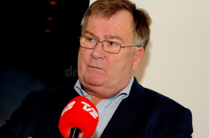 Kopenhagen/Denemarken 15 November 2018 buitenlandse persconferentie van de de defensieminister van _claus hjort Frederiksen de De royalty-vrije stock foto