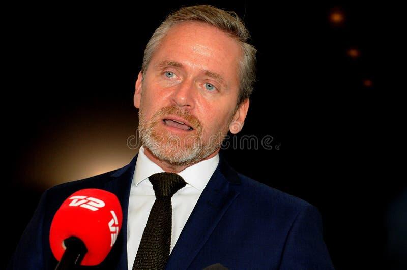 Kopenhagen/Denemarken 15 November 2018 Van drie ministersanders samuelsen van Denemarken de Deense minister voor buitenlandse zak royalty-vrije stock afbeelding