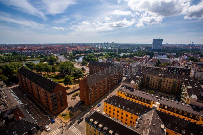 Kopenhagen, panorama, luchtdakbeeld stock afbeelding
