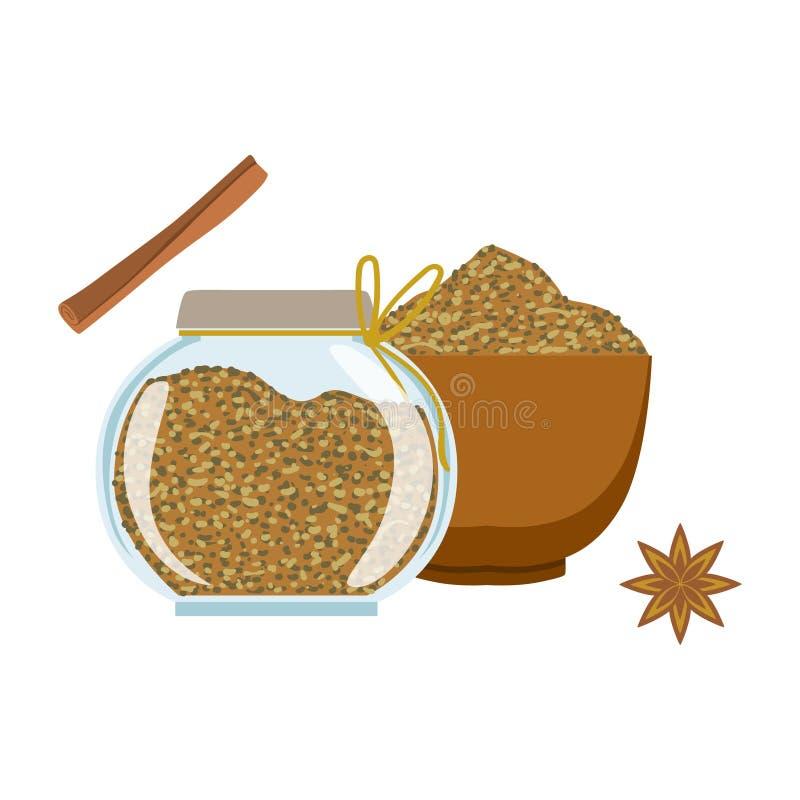 Koperów ziarna w drewnianym pucharze szklanym słoju i Kolorowa kreskówki ilustracja ilustracja wektor