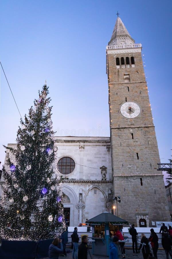 Koper, Slovenia - December 25, 2018 : people enjoying christmas spirit in the streets stock images