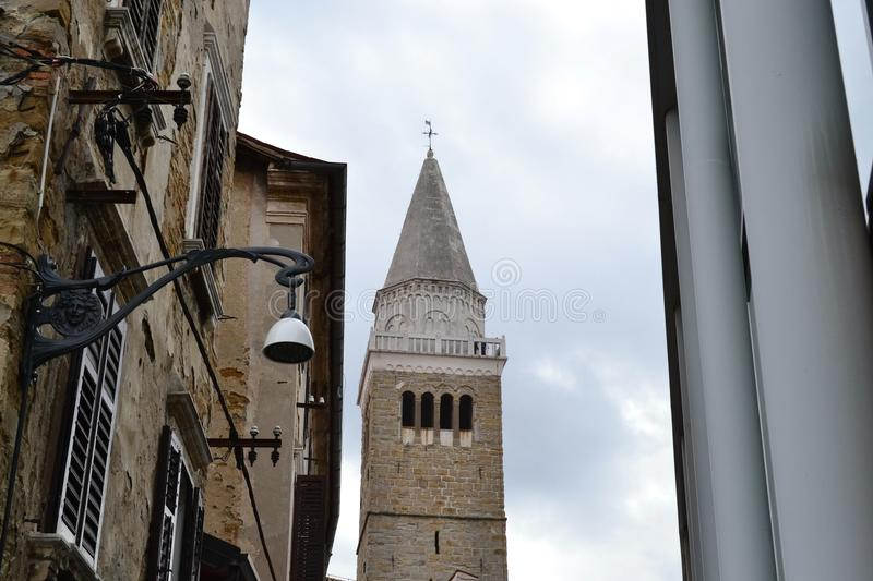Koper Slovenia - Scenes from the town. City tower from the 14 th century stock photos
