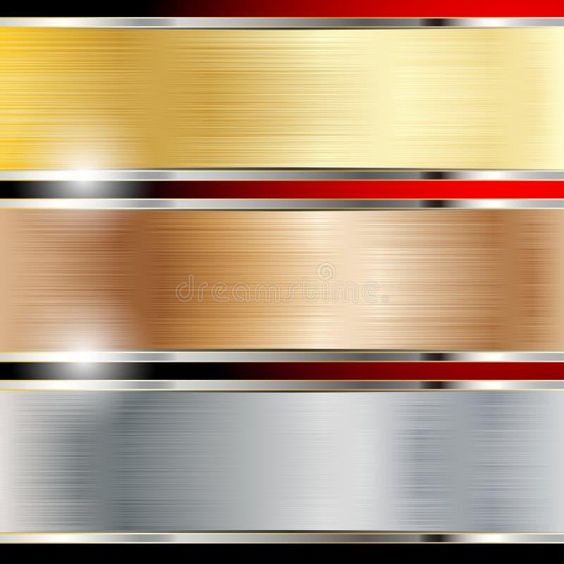 Koper, staal en gouden achtergronden stock illustratie