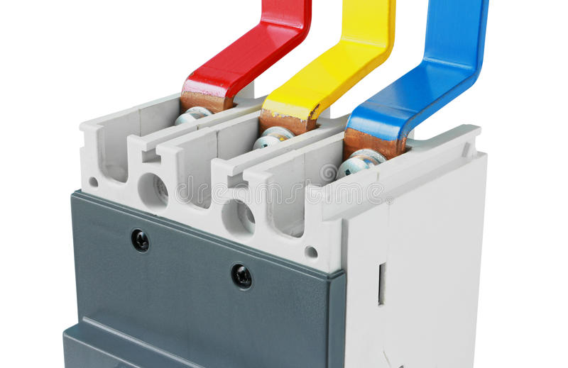 Koperbusbar Verbindingsstroomonderbreker op witte backg wordt geïsoleerd die stock afbeelding
