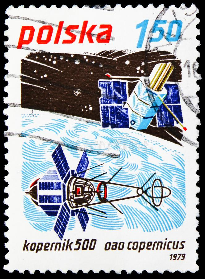 Kopernk 500 and Copernicus satellite, Space Achievements serie, circa 1979. MOSCOW, RUSSIA - JUNE 19, 2019: Postage stamp printed in Poland shows Kopernk 500 and stock images