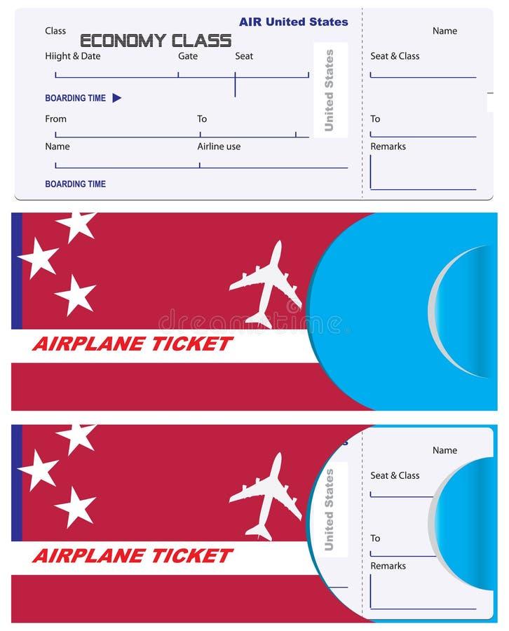 Koperta dla bileta na Stany Zjednoczone samolocie zdjęcie stock