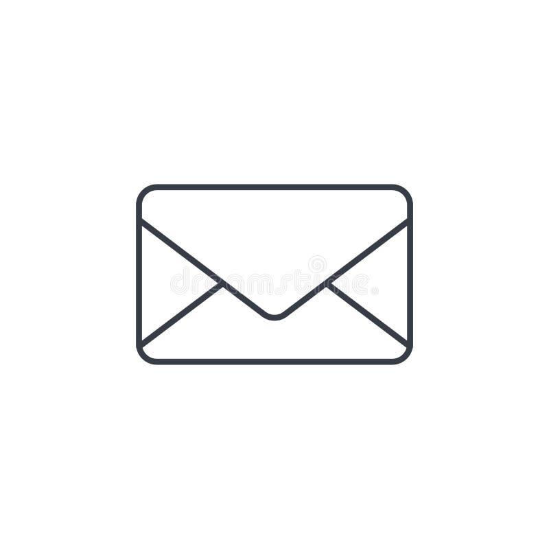 Koperta, emaila list, poczta cienka kreskowa ikona Liniowy wektorowy symbol ilustracji