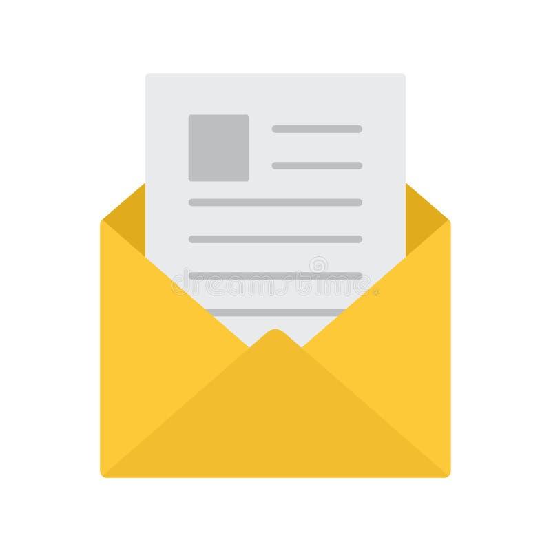 koperta otwarta graficznej ikony ilustracyjna poczta Czyta wiadomość wektor ilustracja wektor