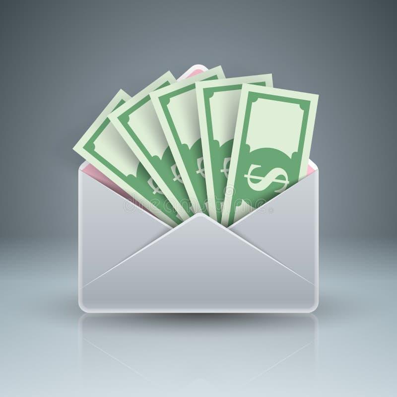 Koperta, poczta, email, łapówka, pieniądze, dolarowa ikona ilustracji