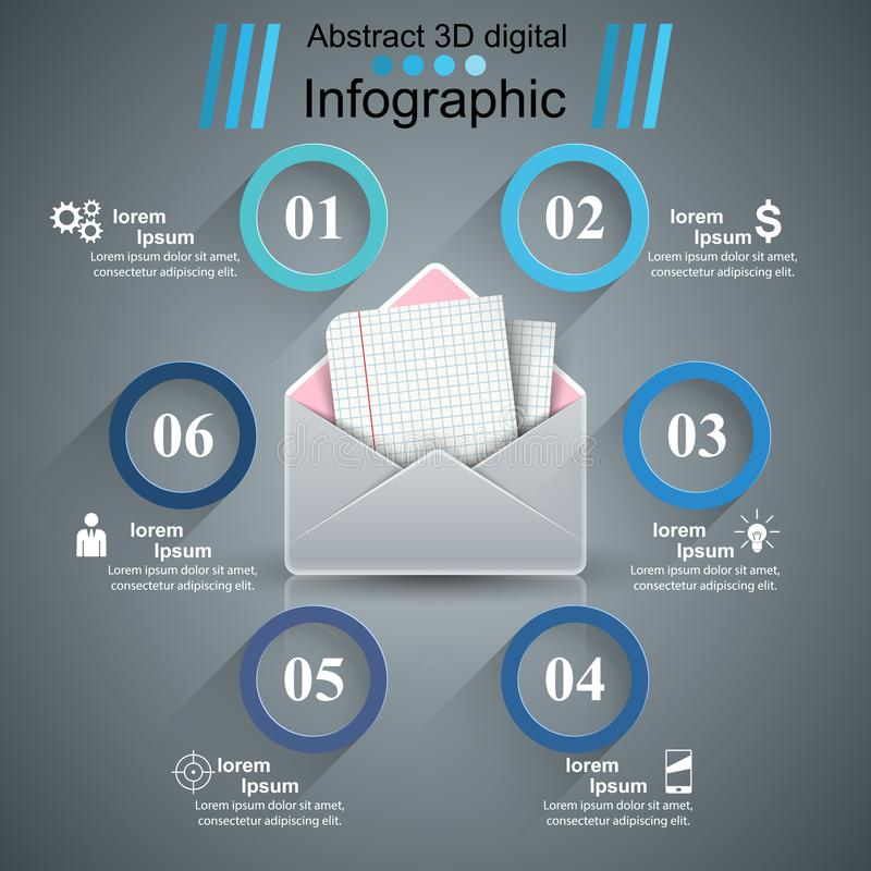 Koperta, poczta, email - biznes infographic royalty ilustracja