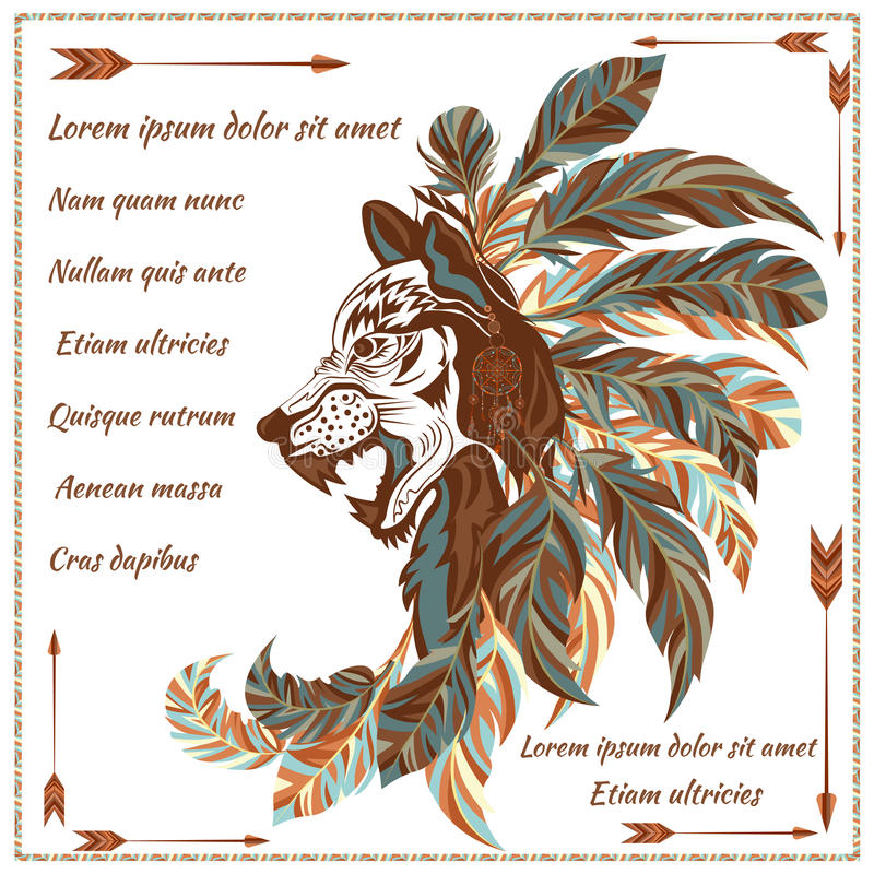 Koperta w etnicznym stylowym wizerunku wilk z piórkami, strzała ilustracja wektor