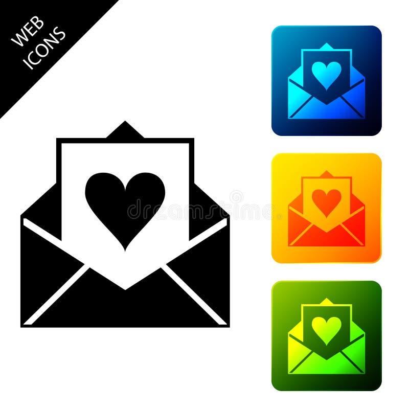 Koperta z izolowaną ikoną Valentine heart List miłość i romans Ustawianie kolorowych przycisków kwadratowych ikon ilustracja wektor
