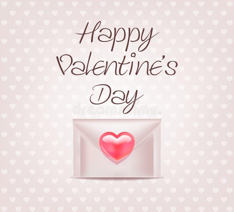 Koperta z sercem obszyty dzień serc ilustraci s dwa valentine wektor Miłość druk ilustracji