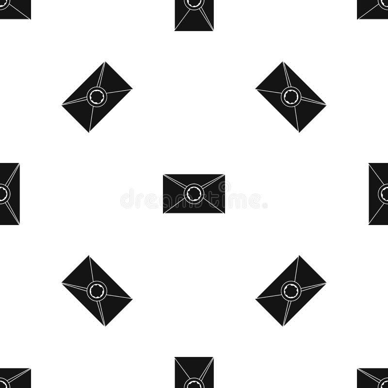 Koperta z wosk foki wzoru bezszwowym czernią ilustracja wektor