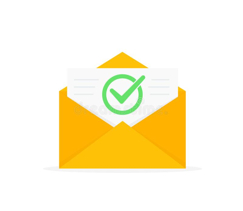 Koperta z zatwierdzoną dokument ikoną E-mailowy potwierdzenie Otwiera kopertę z dokumentem listowy nowy Płaski projekt ilustracji