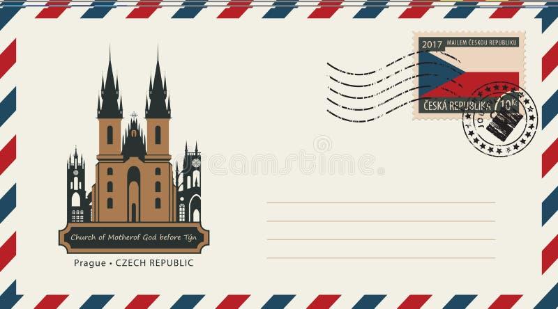 Koperta z znaczkiem pocztowym z Praga kościół ilustracja wektor