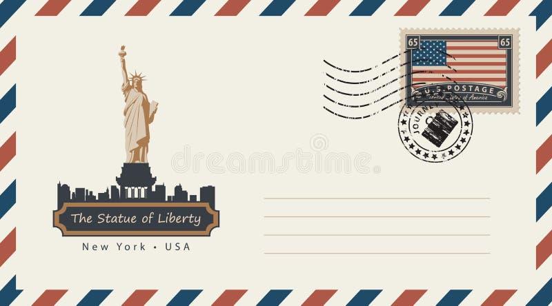 Koperta z znaczkiem pocztowym z statuą wolności ilustracji