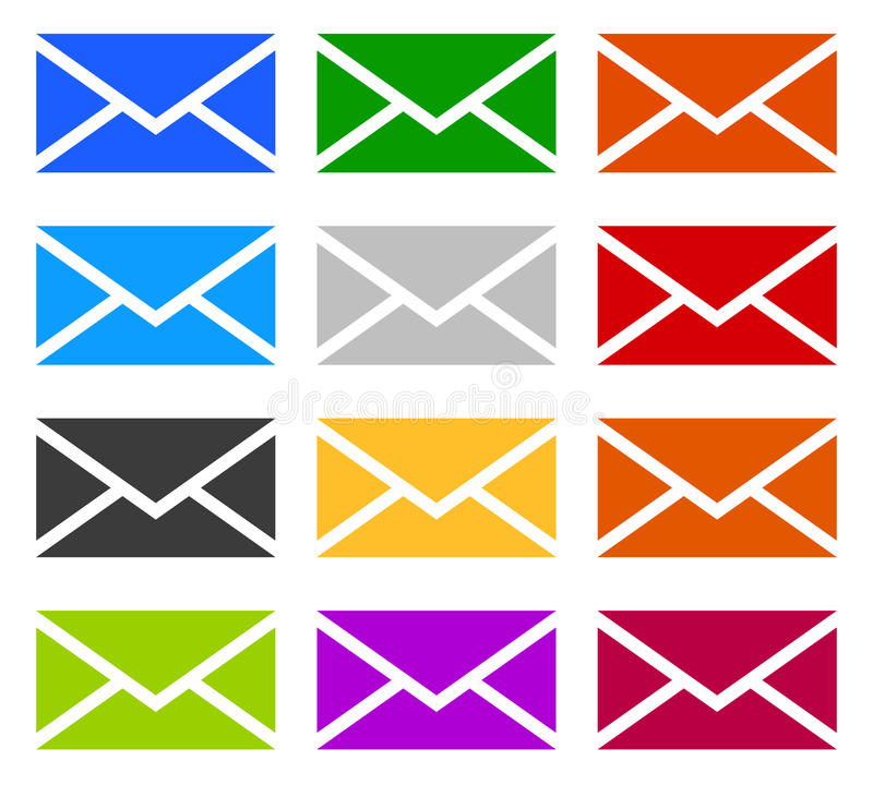 Kopertowi symbole w 12 kolorach jako kontakt, poparcie, email ikony, ilustracji