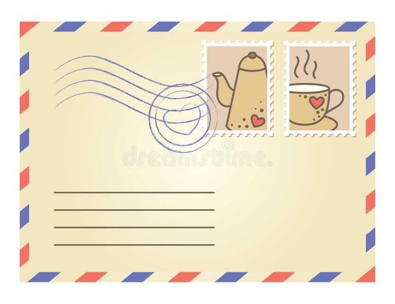kopertowi znaczek pocztowy royalty ilustracja