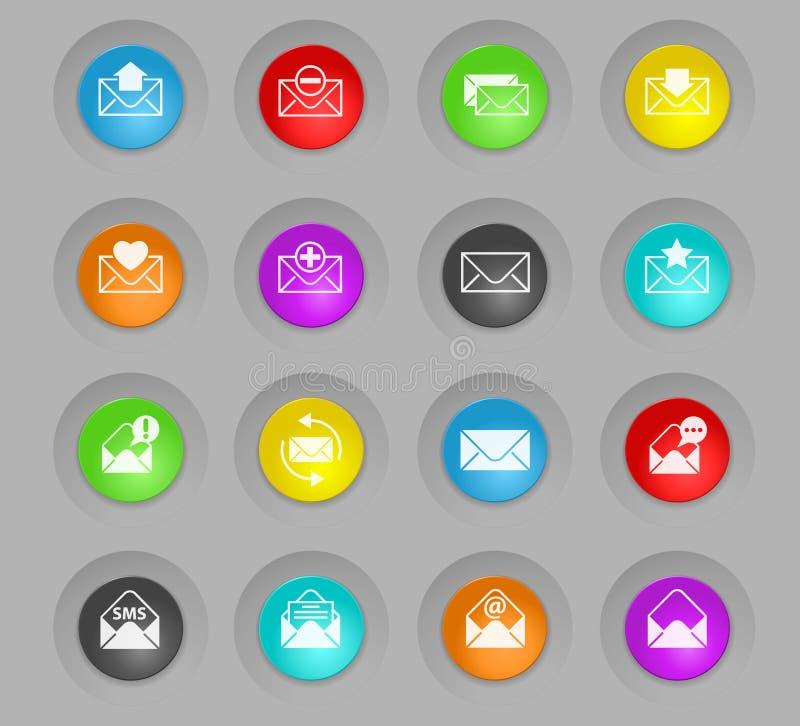 Kopertowy barwiony plastikowy round zapina ikona set ilustracja wektor