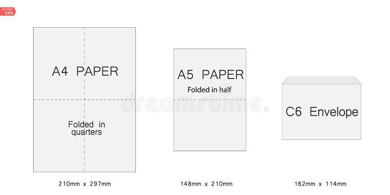 Kopertowy c6 szablon dla a4, a5 papier również zwrócić corel ilustracji wektora ilustracji