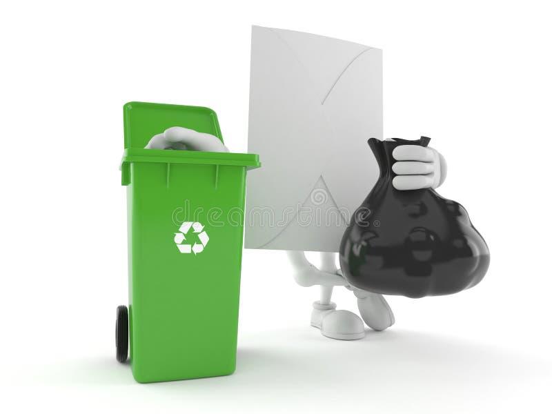 Kopertowy charakter z kosz na śmiecie ilustracji