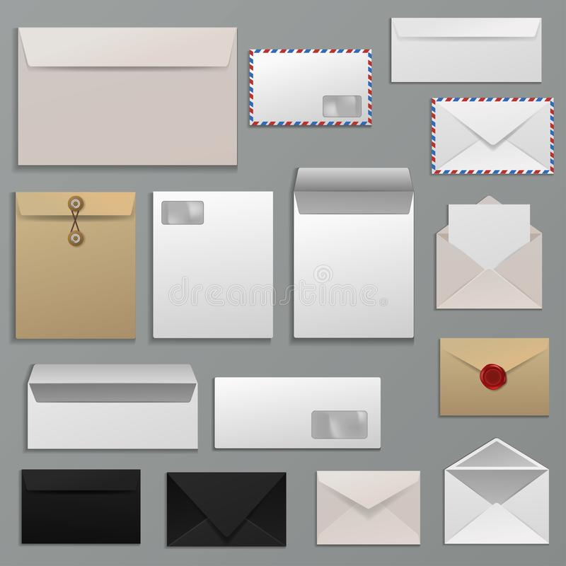 Kopertowy wektorowy puste miejsce list na papierowym opancerzaniu pocztowi mailers adresy i pocztówka szablonu ilustracyjny ustaw ilustracja wektor