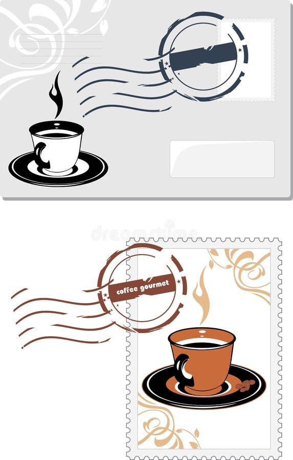 Koperty i poczta znaczek z filiżanką ilustracji