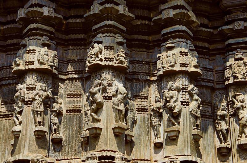 Kopeshwar寺庙, Khidrapur,马哈拉施特拉被雕刻的外视图  库存图片