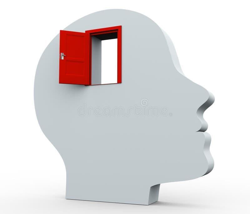 Kopf 3d und offene Tür lizenzfreie abbildung