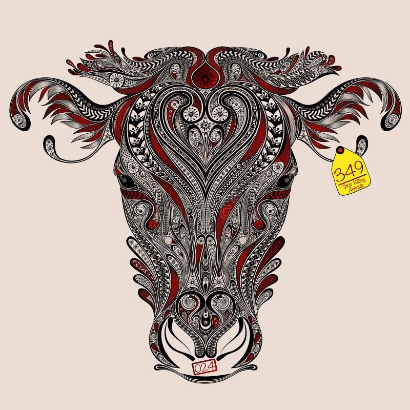 Kopf Der Kuh Mit Abstrakten Schnitten Vektor Abbildung ...
