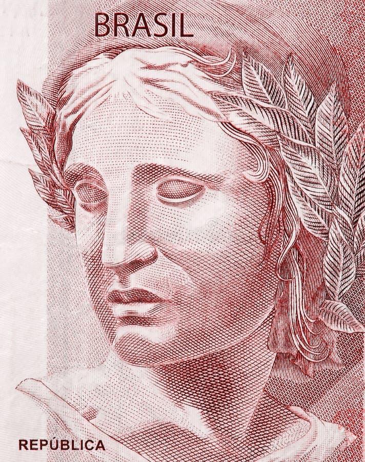 Kopf der Republik auf den Fragmentbanknoten der brasilianischen wirklichen Nahaufnahme stockfoto
