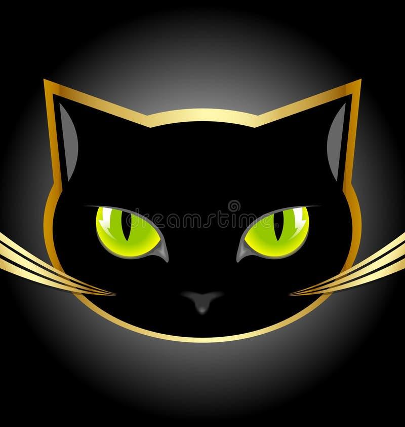 Kopf der schwarzen Katze lizenzfreie abbildung