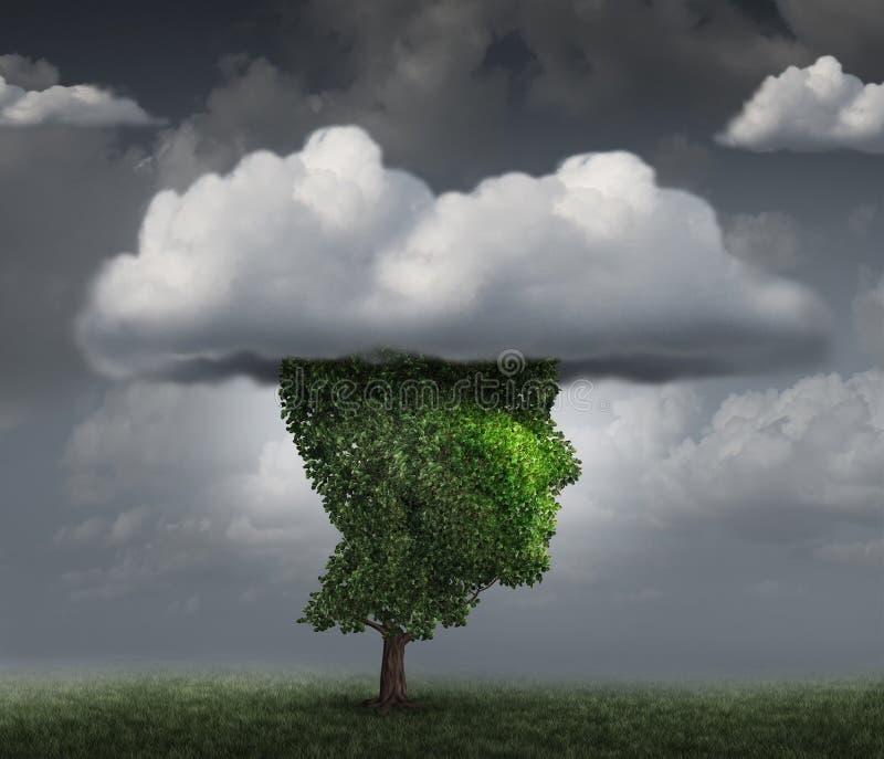 Kopf in der Wolke lizenzfreie abbildung