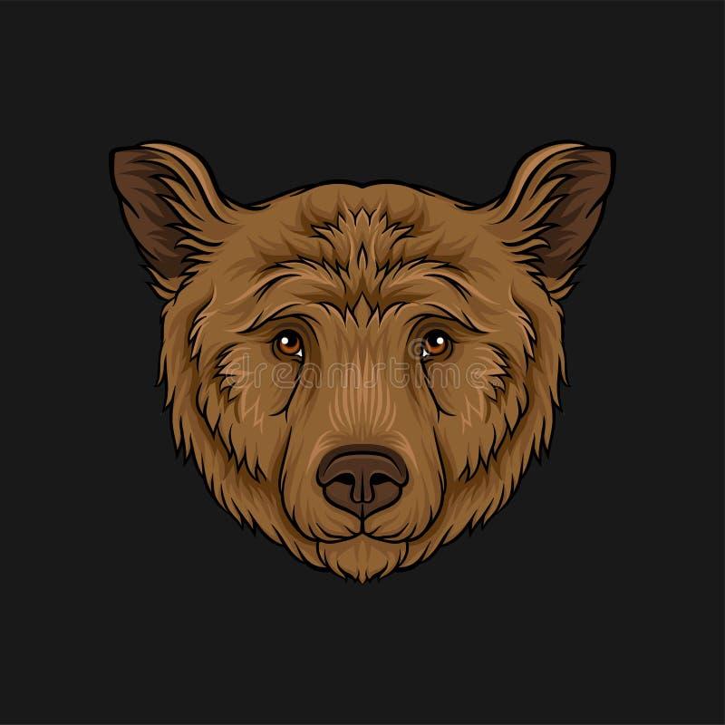 Kopf des Braunbären, Gesicht gezeichneter Illustration Vektor des wilden Tieres Hand stock abbildung