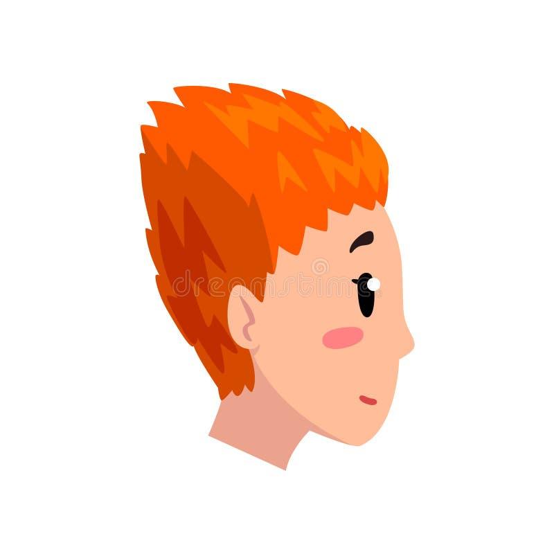 Kopf des Mädchens mit kurzem Rot färbte Haar, Profil der jungen Frau mit Modefrisur-Vektor Illustration auf einem Weiß lizenzfreie abbildung