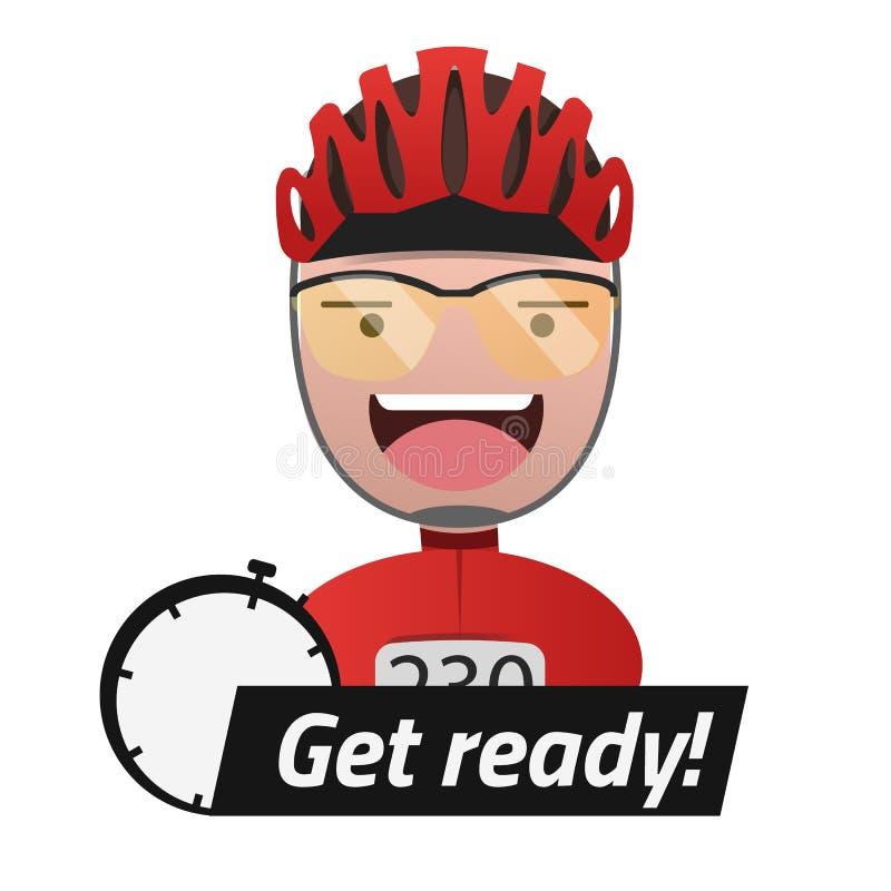 Kopf des männlichen Radfahrer Titels werden fertig editable EPS10 vektor abbildung