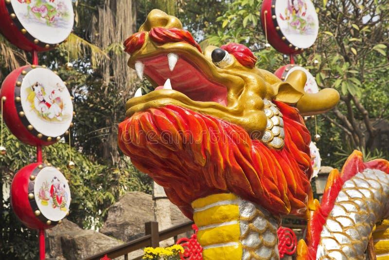 Kopf des weithin bekannten chinesischen Drachen lizenzfreies stockfoto