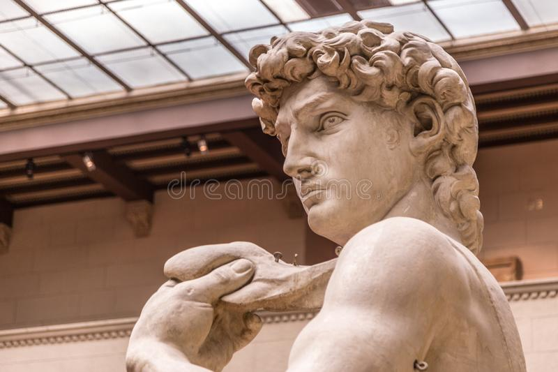 Kopf einer berühmten Statue durch Michelangelo - David von Florenz, stockbild