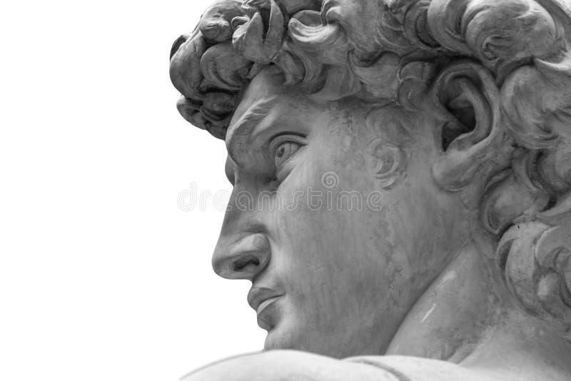 Kopf einer berühmten Statue durch Michelangelo - David von Florenz, lokalisiert auf Weiß stockfotos