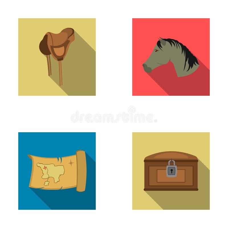 Kopf eines Pferds, ein Sattel, eine Schatzkarte, Ikonen einer gesetzte Sammlung chestWild Westens in der flachen Art vector Symbo vektor abbildung