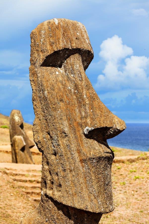 Kopf eines stehenden moai in der Osterinsel lizenzfreies stockbild