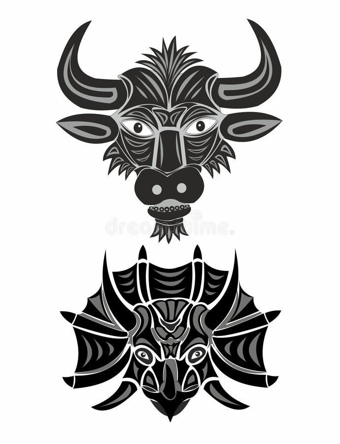 Kopf eines Stiers und des Triceratops in Schwarzweiss lizenzfreie abbildung
