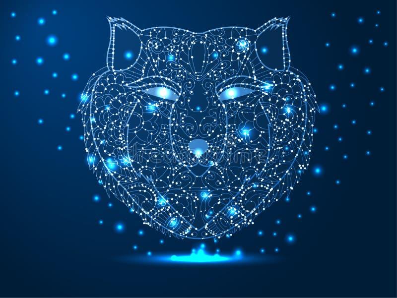 Kopf eines Wolfs, J?ger, Tier Abstrakte polygonale Illustration auf dunkelblauem Hintergrund mit Sternen mit Zerst?rungsformen stockfotos