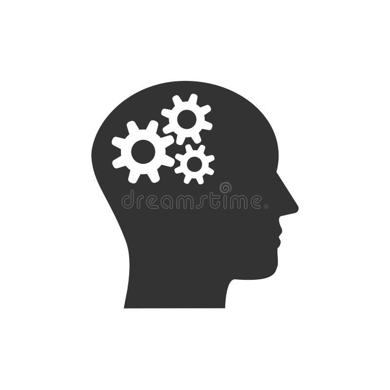 Kopf, Gang, Lösungsideenikone Vektorillustration, flaches Design vektor abbildung
